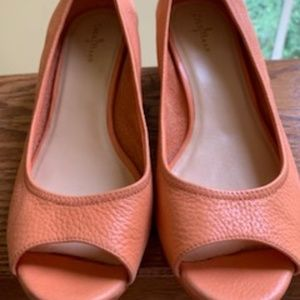 """9.5"""" Cole Haan Leather Coral Color Open Toe Wedge"""